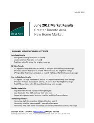 June 2012 Market Results Greater Toronto Area New Home Market