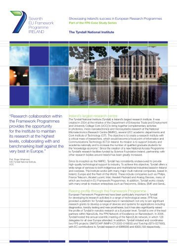 Tyndall Institute (pdf) - Seventh EU Framework Programme Ireland