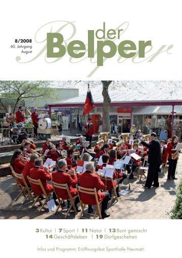 3Kultur | 7Sport | 11 Natur | 13 Bunt gemischt 14 ... - Der Belper