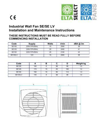Industrial Wall Fan SE/SE LV Installation and ... - Angus Air
