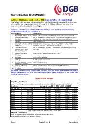Tarievenblad Gas CONSUMENTEN - DGB energie