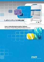 Class II, Microbiological Safety Cabinets - Esco