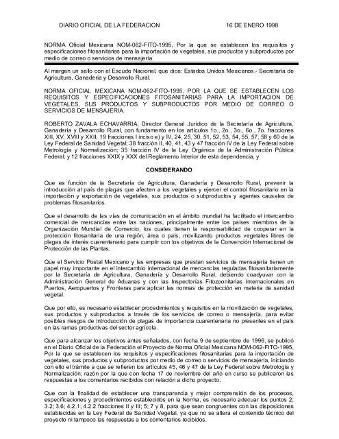 DIARIO OFICIAL DE LA FEDERACION 16 DE ENERO ... - Senasica