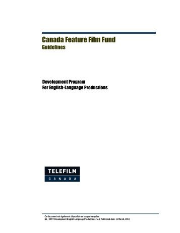KF comments Mar - Telefilm Canada