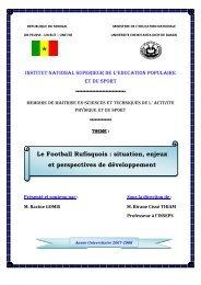 Le football rufisquois : situation, enjeux, et perspectives de ... - BEEP