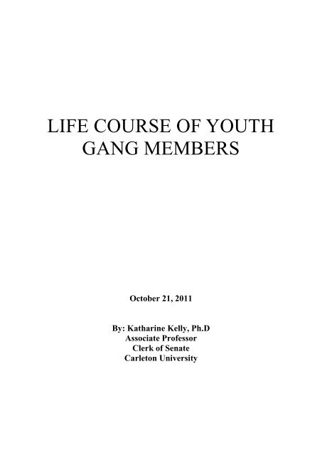 Life Course of Youth Gang Members - Crime Prevention Ottawa