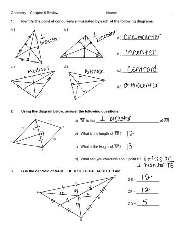Geometry – Chapter 5 Review Name: 1. Identify the point of ...