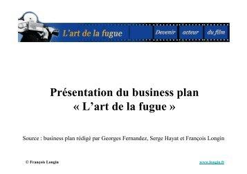 Présentation du business plan « L'art de la fugue »