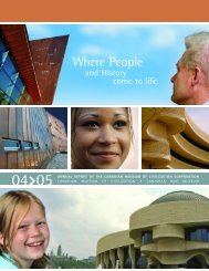CMCC Annual Report, 2004-2005 - Canadian Museum of Civilization