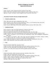 literatura & požadavky na zápočet a zkoušku (PDF) - katedra zoologie