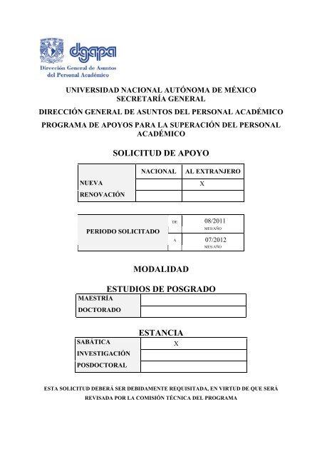 SOLICITUD DE APOYO MODALIDAD ESTUDIOS ... - CRyA, UNAM