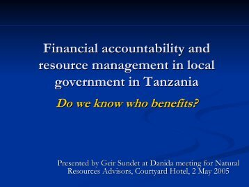 The state of financial accountability in local government in Tanzania ...