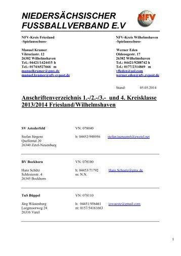Anschriftenverzeichnis 1. - 3. Kreisklasse FRI/WHV - Heidmuehler ...