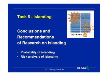 I - Islanding conclusions