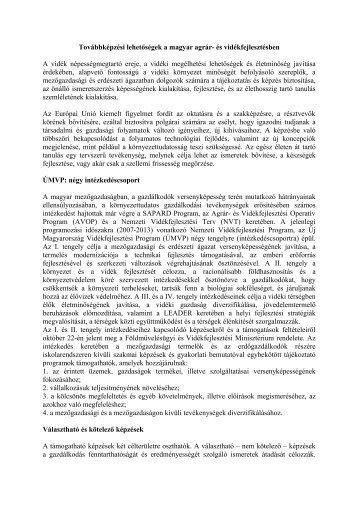 Továbbképzési lehetségek - Magyar Nemzeti Vidéki Hálózat