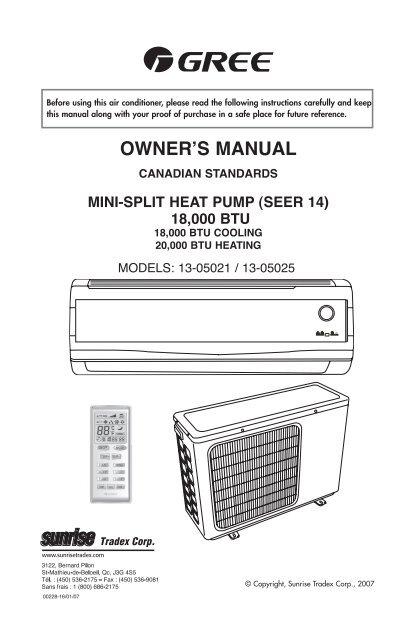 Instructions 13-05021/13-05025 - Mini-split 18k