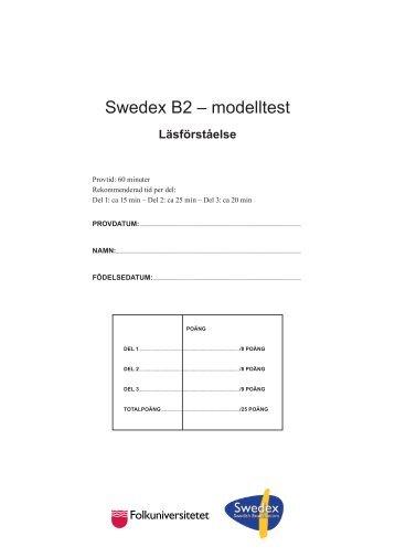 Swedex B2 – modelltest - Folkuniversitetet