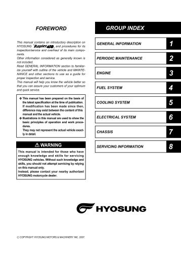 HYOSUNG SF 50 MANUAL Pdf Download