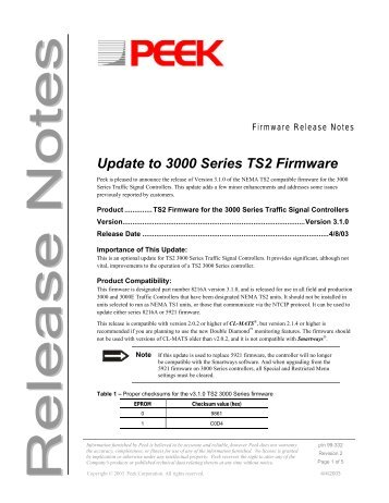 3000 TS2 Firmware Release Notes - Peek Traffic