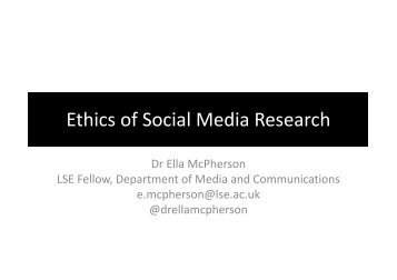 Ethics, legal issues and social media