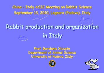 Rabbit production and organization in Italy Rabbit production ... - ASIC