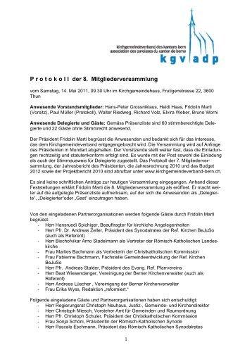 Protokoll der Mitgliederversammlung 2011 - beim ...