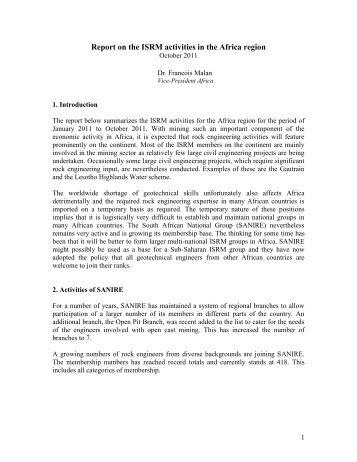 VP Africa Activity Report 2011 (pdf file) - ISRM