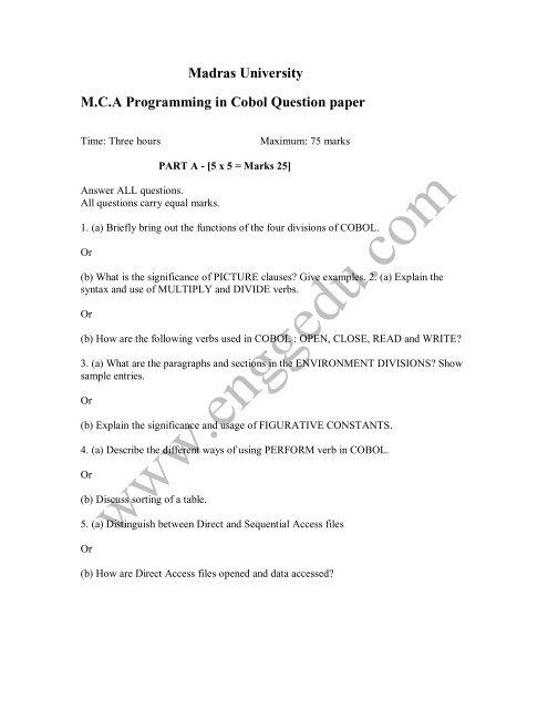 Madras University M C A Programming in Cobol Question paper