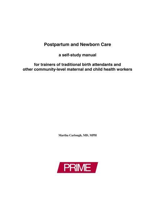 Postpartum and Newborn Care: A Self-Study Manual for ... - Prime II