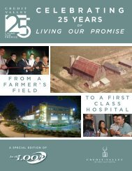 celebrating 25 years living our promise - Credit Valley Hospital
