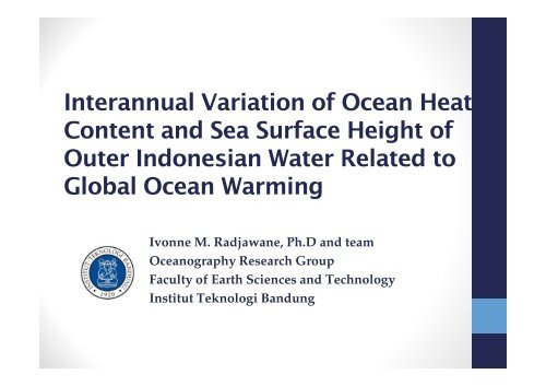 Interannual Variation of Ocean Heat Content and Sea Surface ...