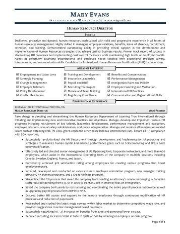 human resources director resume