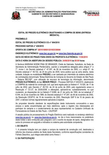 edital preg eletr cg 004 10 material construção - SAP - Governo do ...