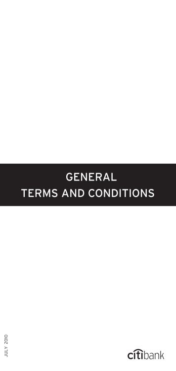 GENERAL TERMS AND CONDITIONS - Citibank