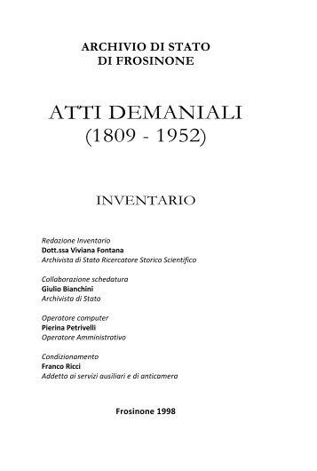 ATTI DEMANIALI (1809 - 1952)