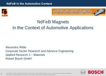 NdFeB Magnets in the Context of Automotive Applications - ABM