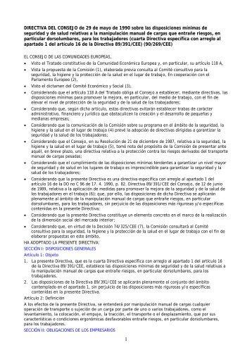 Directiva Del Consejo 29 05 1990 Manipulación Manual De Cargas ...