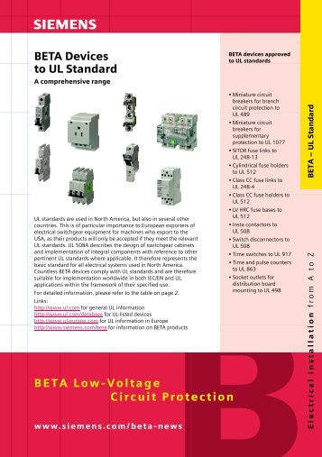 BETA Low-Voltage Circuit Protection BETA Devices to UL ... - Siemens
