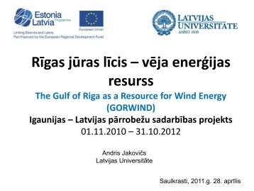 The Gulf Of Riga as a resource for WIND energy
