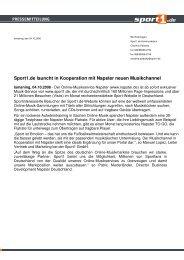 Sport1.de launcht in Kooperation mit Napster neuen Musikchannel