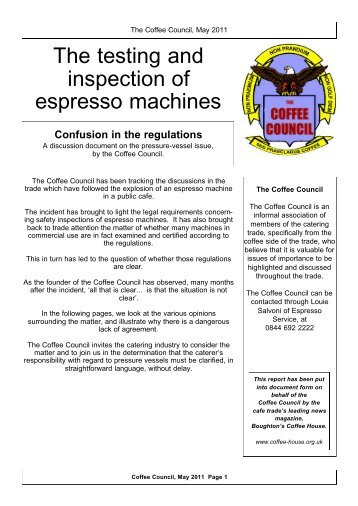 The testing and inspection of espresso machines - Boughton's ...