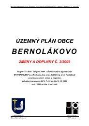 územný plán obce bernolákovo zmeny a doplnky č. 2/2009
