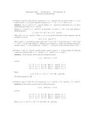 Mathematics 5335 Problem Set 3 Due September 18 Solutions by ...