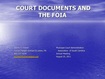 court documents and the foia - Municipal Association of South ...