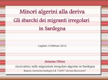 Slide ricerca minori algerini - Sociale
