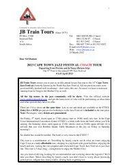 2013 cape town jazz festival coach tour - JB Train Tours