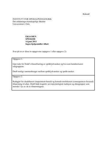 Tidligere eksamensoppgaver - Det utdanningsvitenskapelige ...