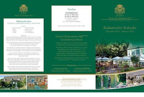 Kulinarischer Kalender Dezember 2011 - Hotel Clostermanns Hof