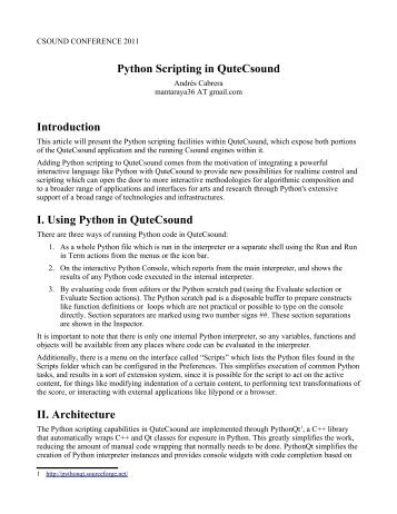 Python Scripting in QuteCsound Introduction I. Using ... - Incontri