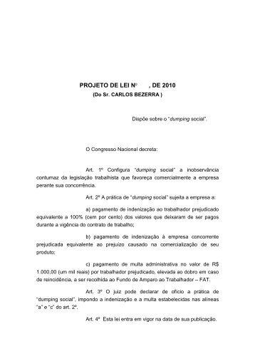 PROJETO DE LEI No , DE 2010